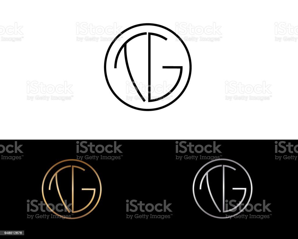 Tg Circle Shape Letter Design Stock Illustration Download