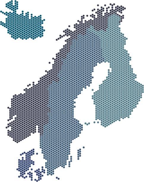 stockillustraties, clipart, cartoons en iconen met cirkel vorm nordic graafschappen kaart op witte achtergrond. vectorillustratie. - noordse landen