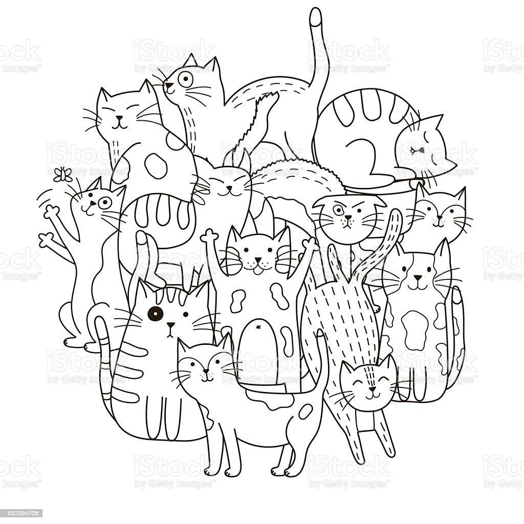 Ilustración de Patrón Lindo Forma De Círculo Con Gatos Para Libro ...