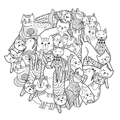 Circle shape print with funny cats. Coloring page with feline characters. Doodle black and white print for coloring book