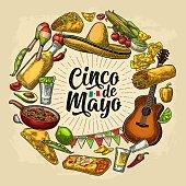 Circle shape set mexican food engraving. Cinco de Mayo lettering.