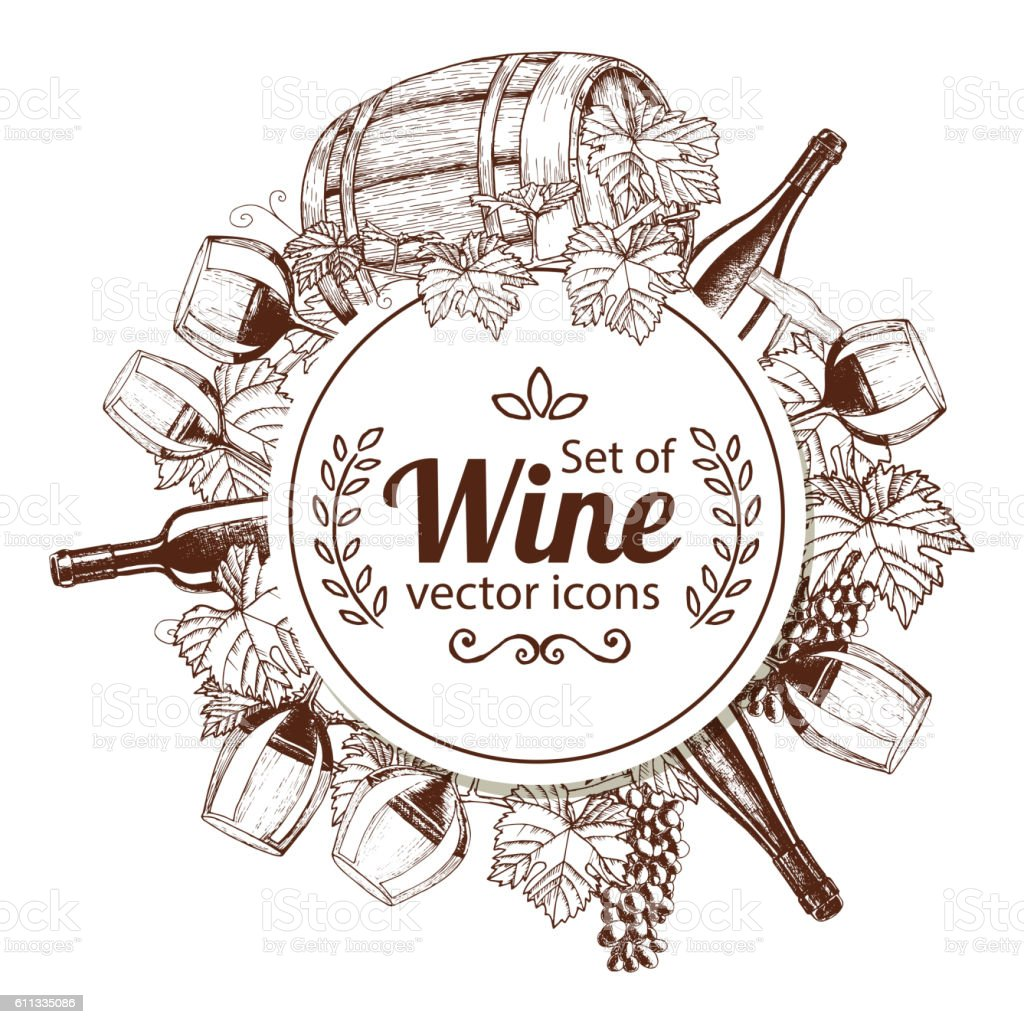 circle shape template with sketch wine icons のイラスト素材