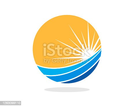 istock Circle shape with wave and shinning sun 1263099110