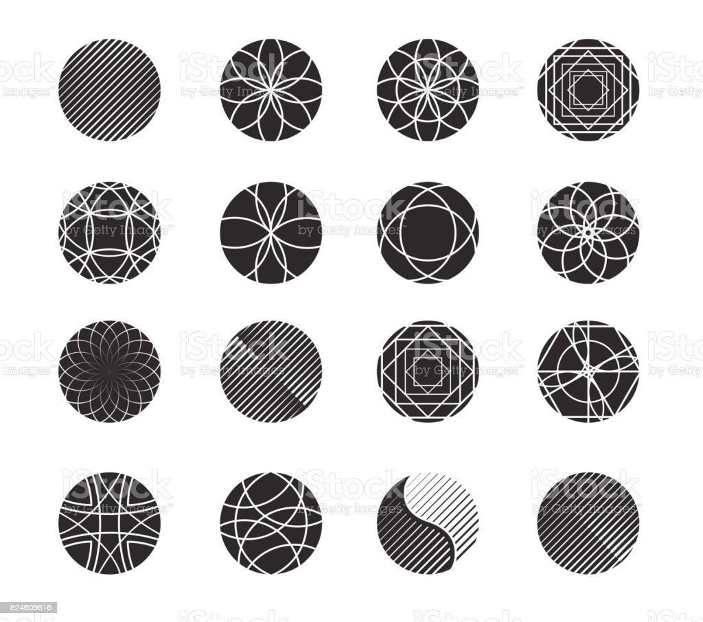 Kreisformen Set Für Design Einfache Geometrische Formen In Schwarze ...