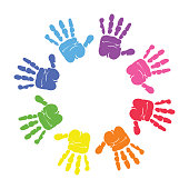 Circle spiral of colorful hand prints made by children isolated on white background. vector
