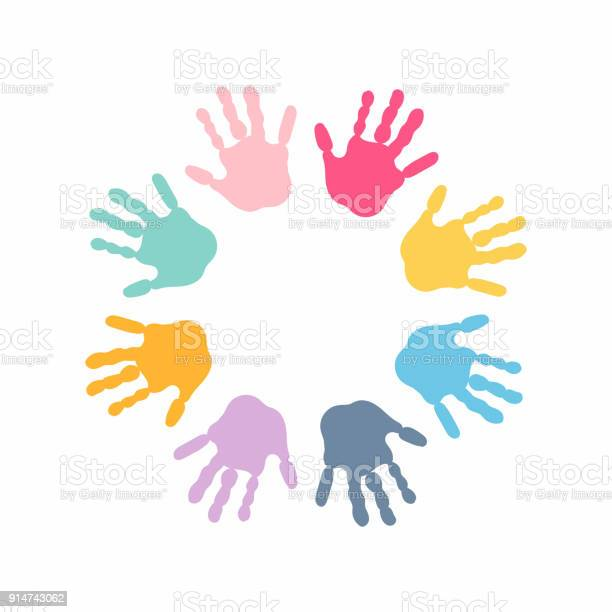 Circle spiral of colorful hand prints made by children isolated on vector id914743062?b=1&k=6&m=914743062&s=612x612&h= oqp b7s3zfr424mpblbqaagsihg nkterob7cv9hkk=
