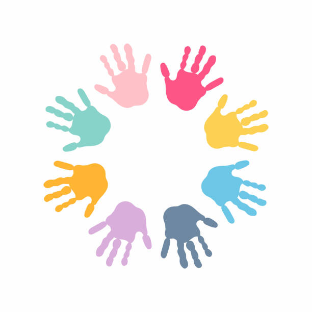 circle spiral of colorful hand prints made by children isolated on white background. - kids stock illustrations, clip art, cartoons, & icons