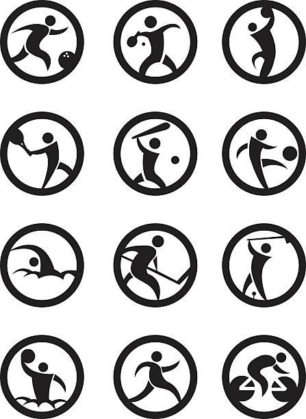 Circle Sport Symbole in schwarz und weiß – Vektorgrafik