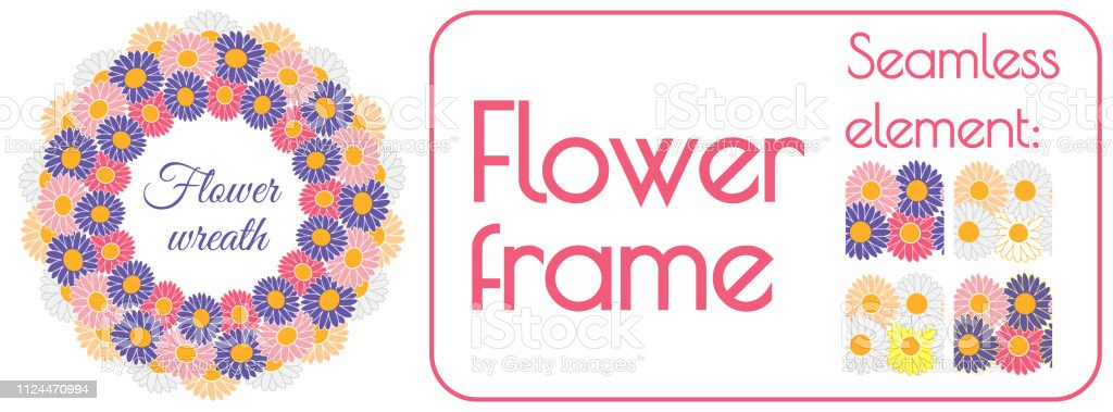 Circle spring wreath of gerberas and daisies PLUS seamless brush...