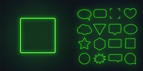 Circle, square, speech bubble, star, triangle, heart, hexagon and other glowing green neon frames on a dark transparent background.