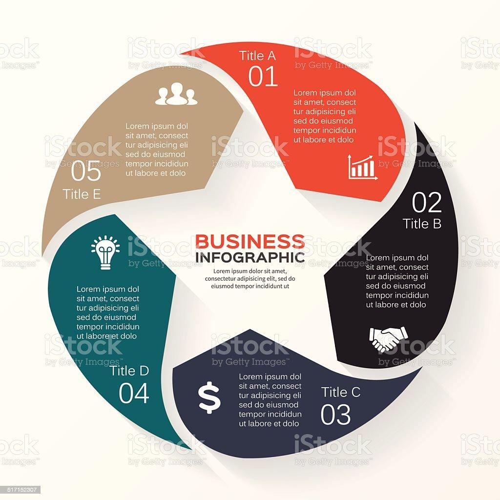 Circle star infographic, diagram, presentation 6 options vector art illustration