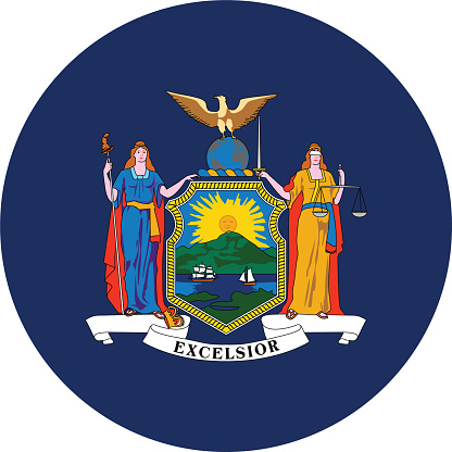 Circle state flag of US federal state of New York