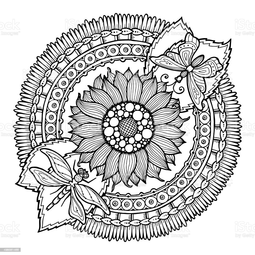 Circle Summer Doodle Flower In Mandala Stock Vector Art ...