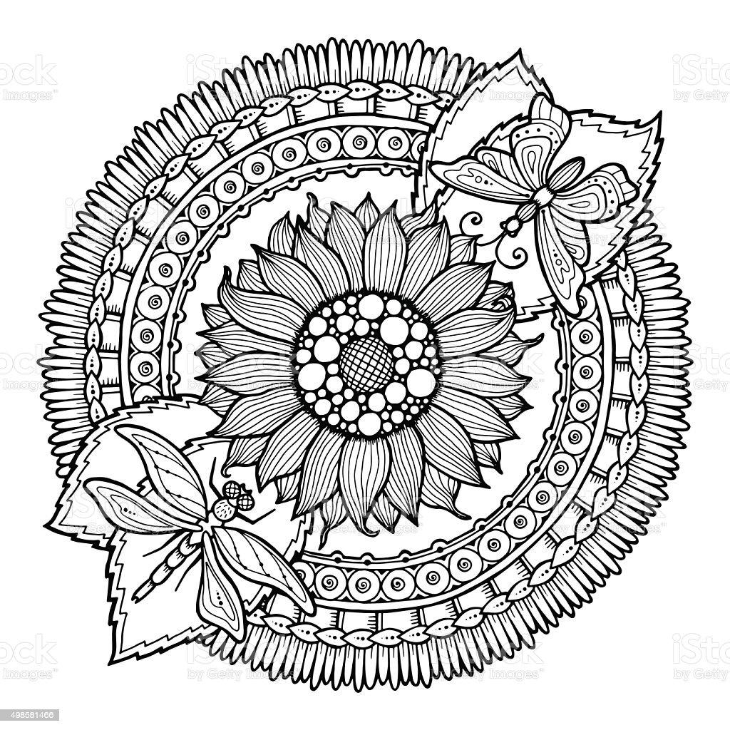 Cerchio Di Mandala Fiori Doodle Estate Immagini Vettoriali Stock E