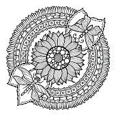 Circle summer doodle flower in mandala.