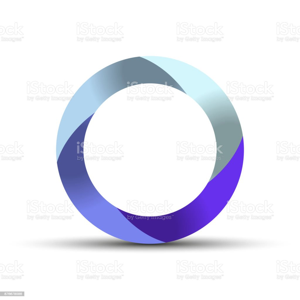 3D Circle Swirl Symbol With Shadow Origami Paper Style Vector Illustration Royalty Free
