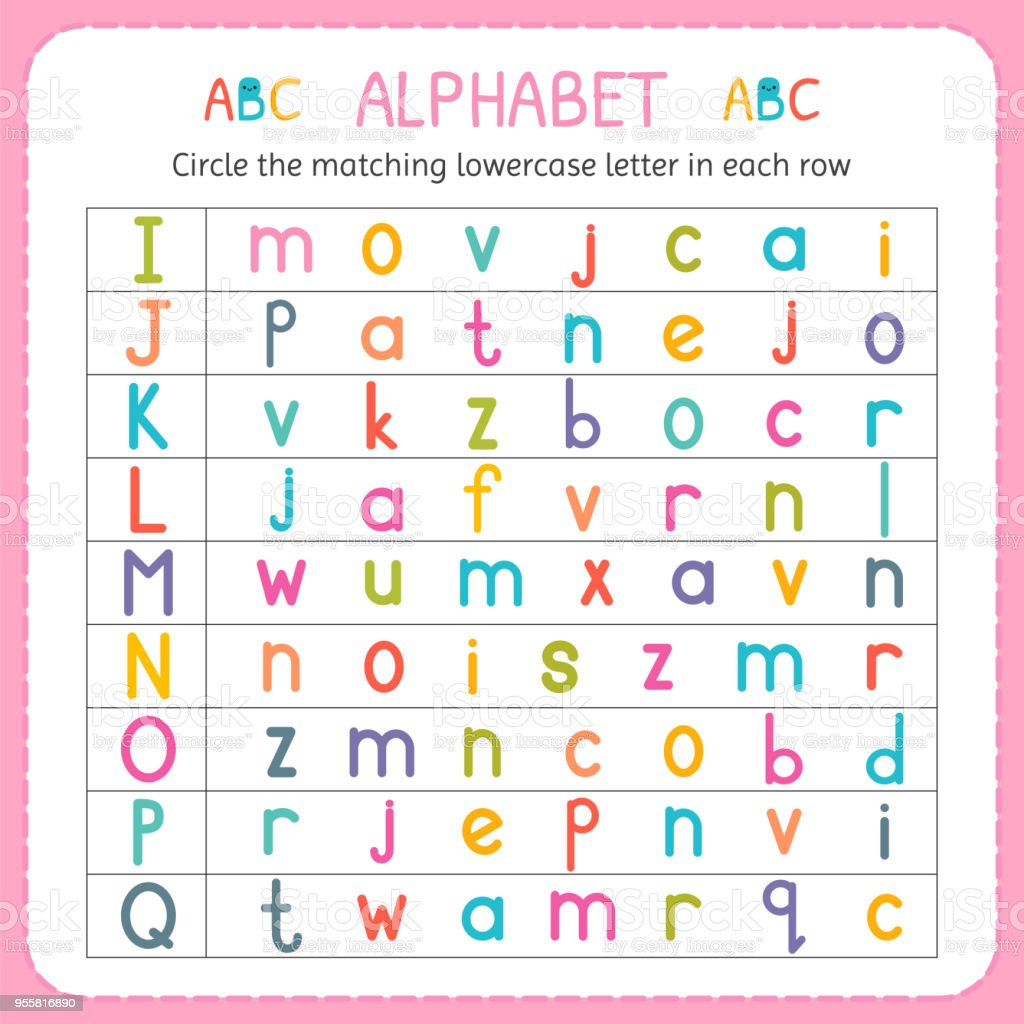Circle The Matching Lowercase Letter In Each Row From I To Q