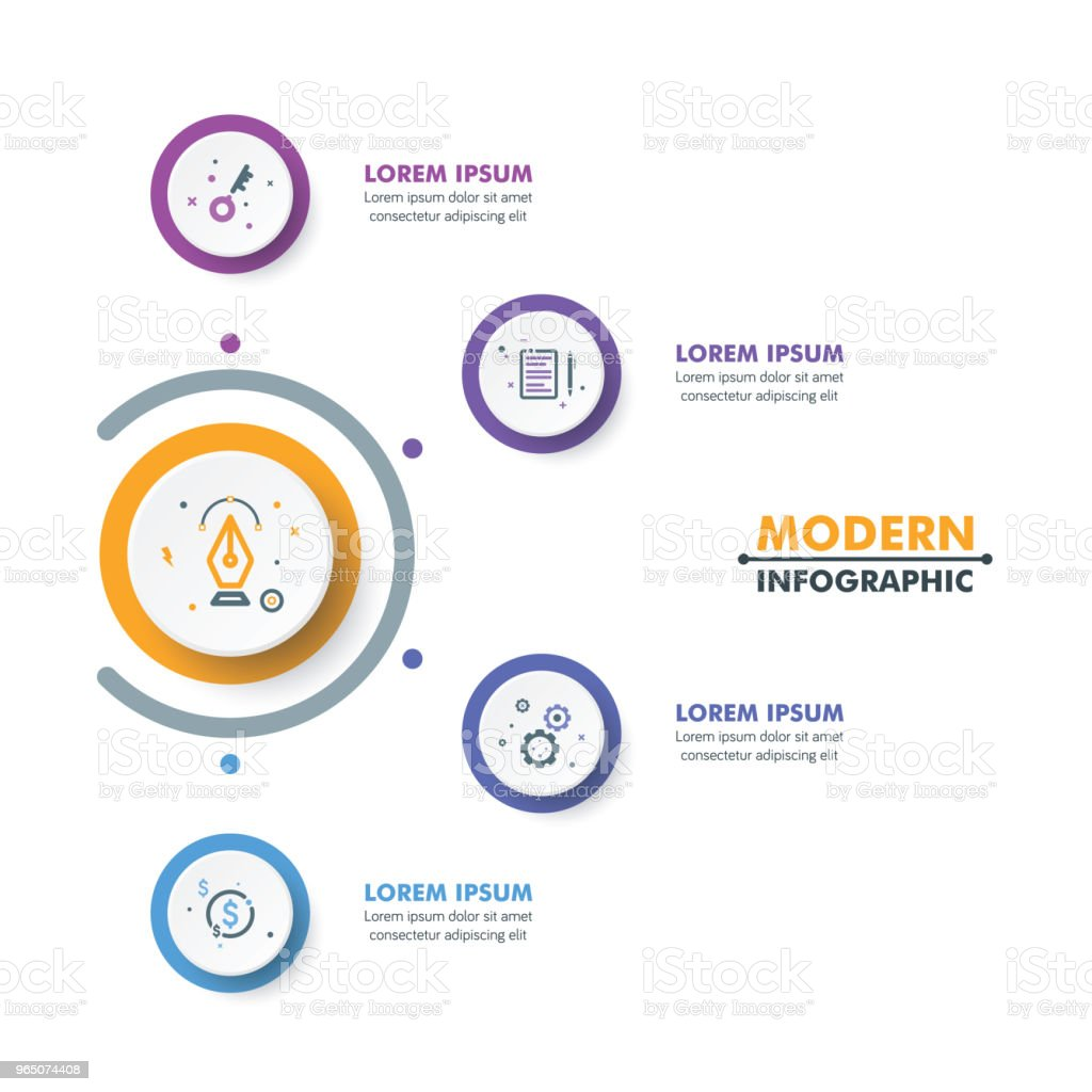 Circle Timeline Infographic Template with Colorful Rounded Button Design. Vector Illustration circle timeline infographic template with colorful rounded button design vector illustration - stockowe grafiki wektorowe i więcej obrazów abstrakcja royalty-free