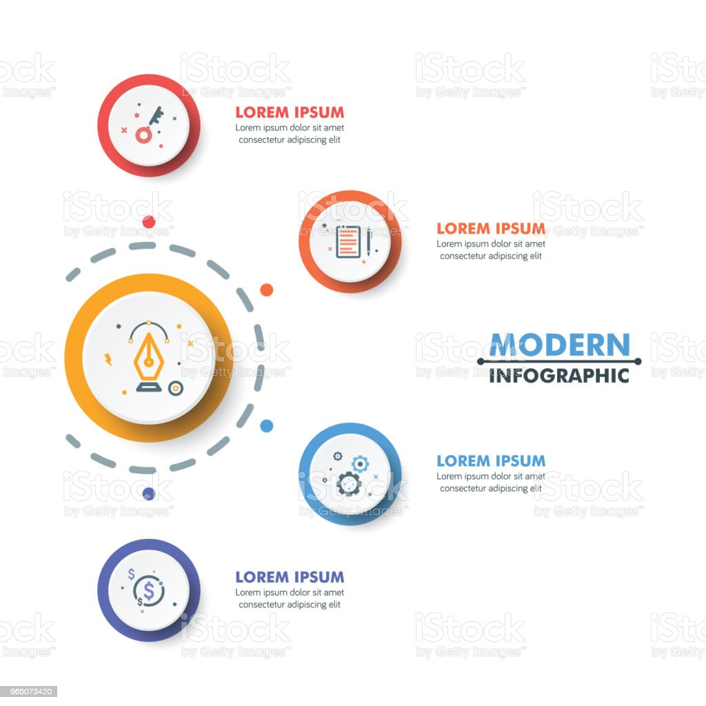 Circle Timeline Infographic Template with Colorful Rounded Design and Business Icons. Vector Illustration circle timeline infographic template with colorful rounded design and business icons vector illustration - stockowe grafiki wektorowe i więcej obrazów abstrakcja royalty-free