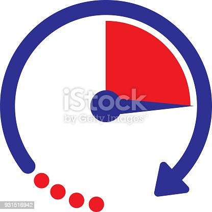 Vector illustration of a blue and red circle timer.