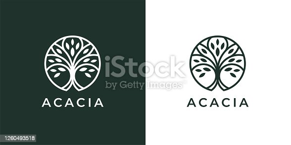 istock Circle tree line icon 1260493518