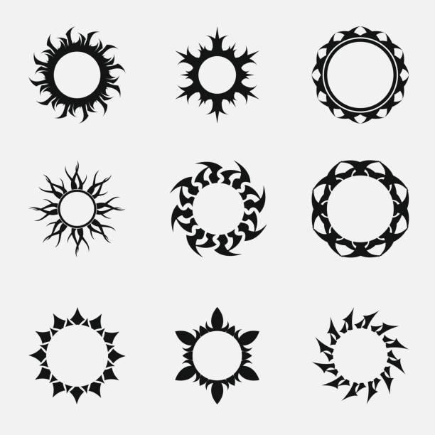Circle tribal ornaments vector art illustration