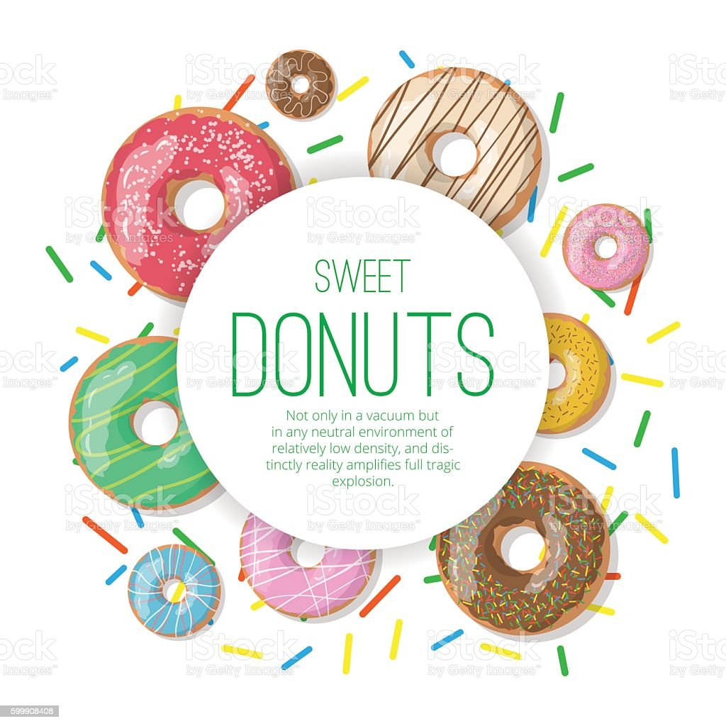 Circle vector banner with donuts illustration isolated vector art illustration
