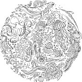 Circle vector set of doodles wild sealife.