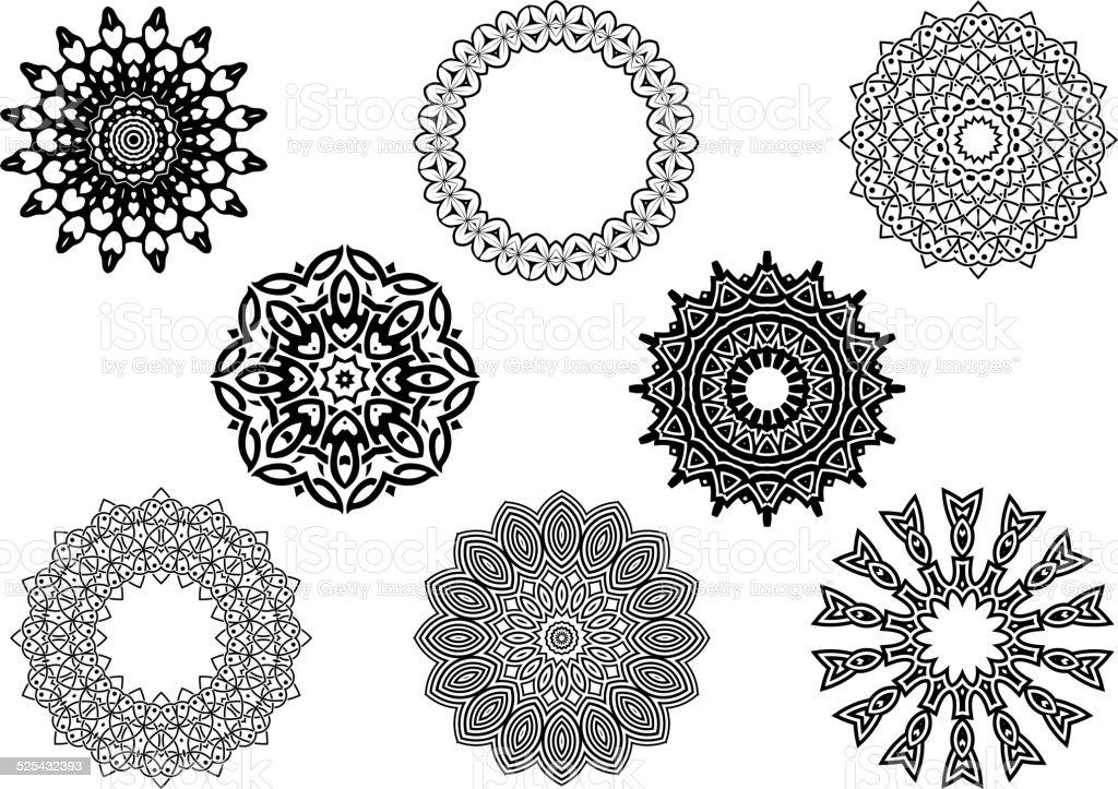 Circle vignette lace ornaments set vector art illustration
