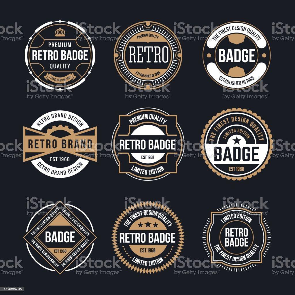 Círculo de Vintage y Retro insignia diseñan de colección ilustración de círculo de vintage y retro insignia diseñan de colección y más vectores libres de derechos de calidad libre de derechos