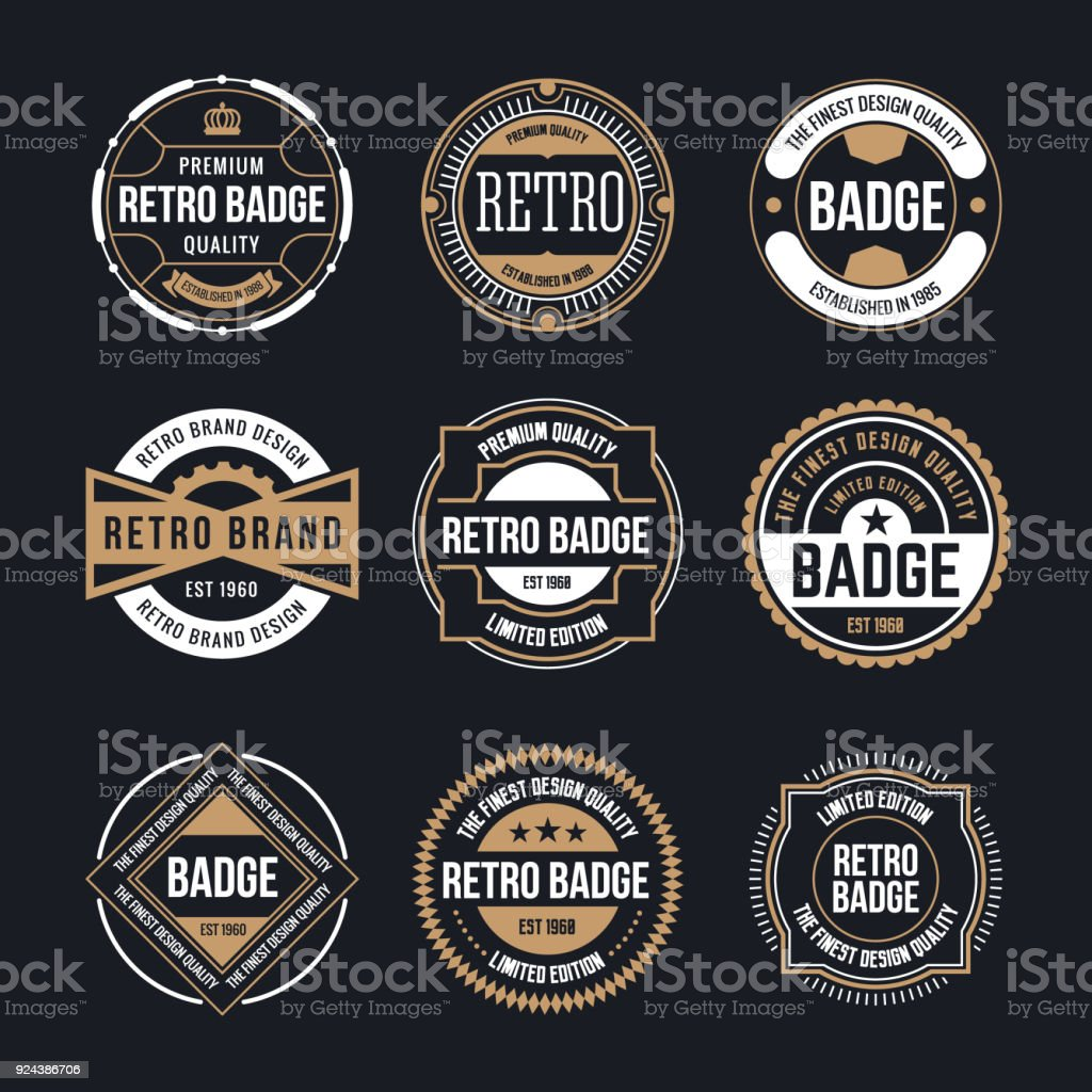 Circle Vintage and Retro Badge Design Collection vector art illustration
