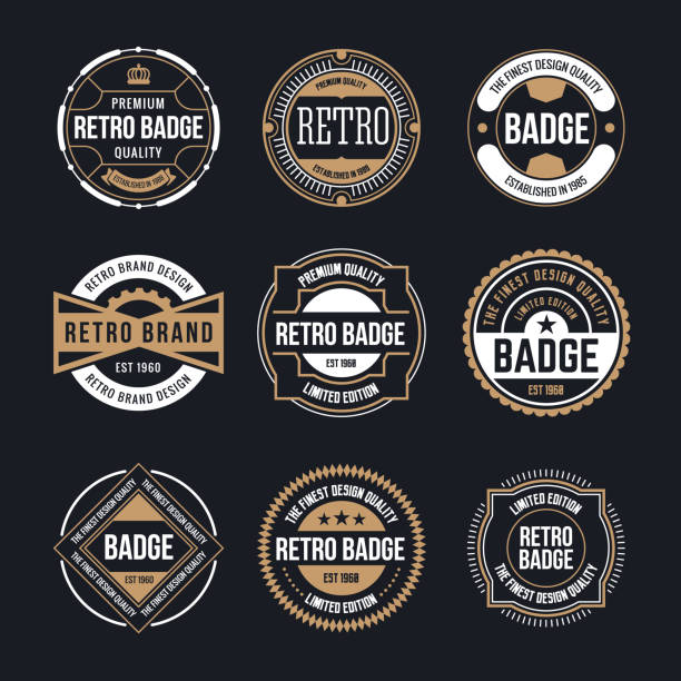 circle vintage and retro badge design collection - przypinka stock illustrations