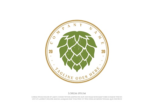 Circle Vintage Retro Hop for Craft Beer Brewing Brewery Product Label Logo Design Vector