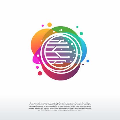 Circle Wire Technology logo designs template, Tech logo symbol icon
