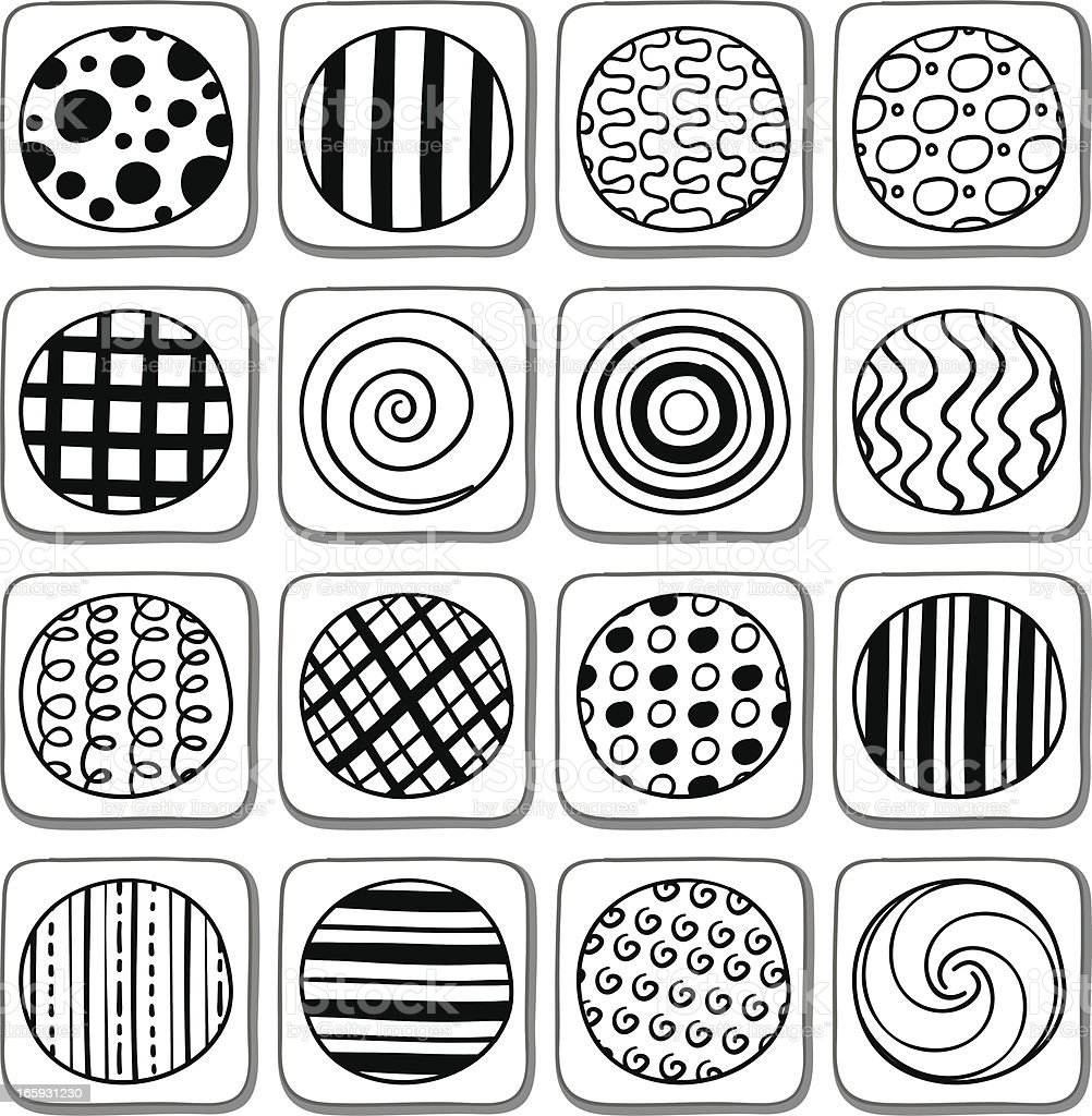 Circle with pattern in black and white vector art illustration