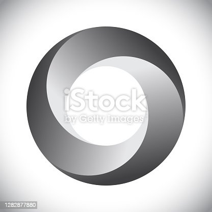 Circle with three segments and gradients. Logo or icon for any project.