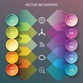 Modern vector circle and arrows infographic elements in bright colors