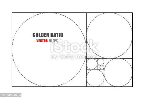 Circles in golden proportion. Futuristic design. Logo. Vector icon. Abstract vector background.
