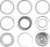 set of hand drawn circles