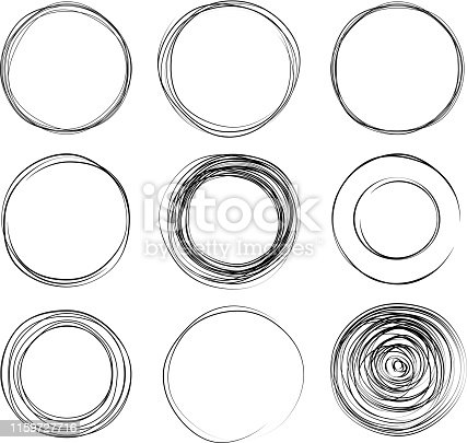 set of hand drawn circles