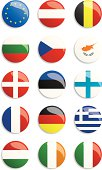 European Union flags buttons (countries A – I)