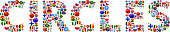 Circles World Flags Vector Buttons. The word is composed of various flag buttons. It represents globalization and cooperation between nations. The flag buttons fill in the letters and form a seamless pattern. Flags include United States, Great Britain, Germany, Canada, European Union, Russia, Switzerland, Israel, China and many more.