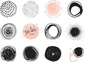 Abstract circle clip art elements. Use for posters, prints, greeting and business cards, banners, icons, labels, badges and other graphic designs.