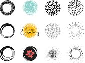 Set of sketch circle elements. Use for posters, art prints, greeting and business cards, banners, icons, labels, badges and other graphic designs.