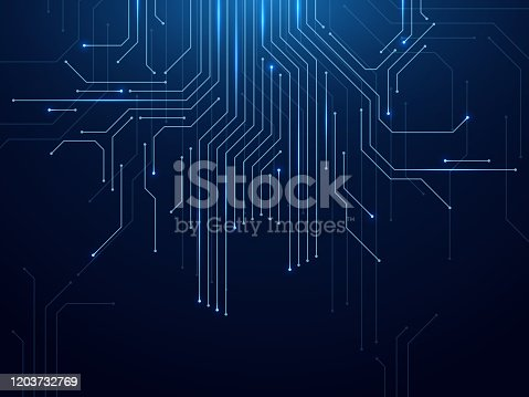 istock Circuit board. Abstract futuristic technology processing high tech electronic circuit board, motherboard engineering concept vector background 1203732769