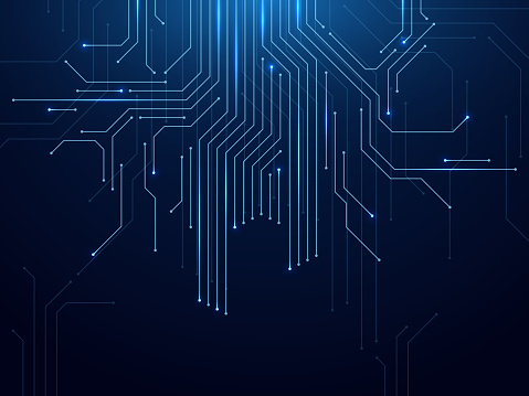 Circuit board. Abstract futuristic technology processing high tech electronic circuit board, motherboard engineering concept vector computer parts background