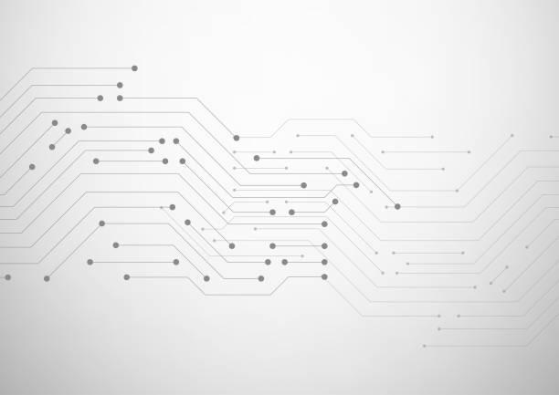 基板。ドットと線を持つ抽象的な灰色の背景 - 半導体点のイラスト素材/クリップアート素材/マンガ素材/アイコン素材