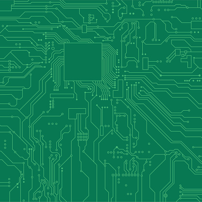 Circuit board background. Vector electronic background. Green circuit.