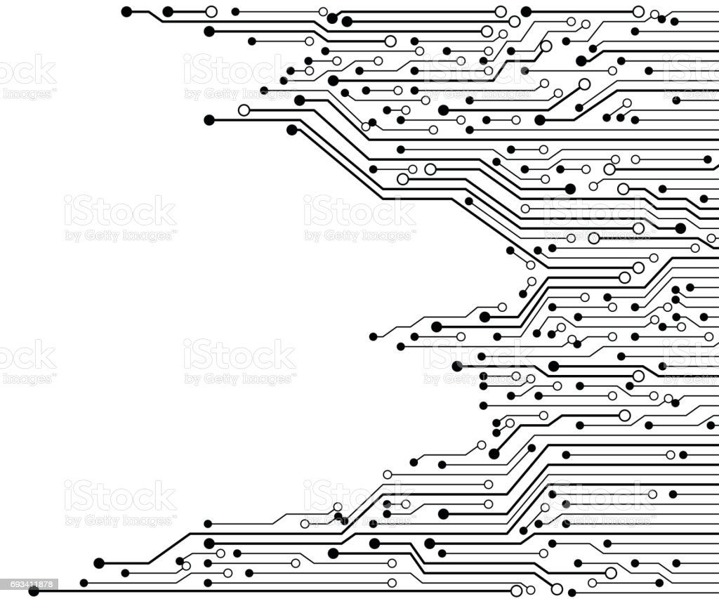 Circuit Board Black And White Vector Background Stock Art Old Electronic Royalty Free Image