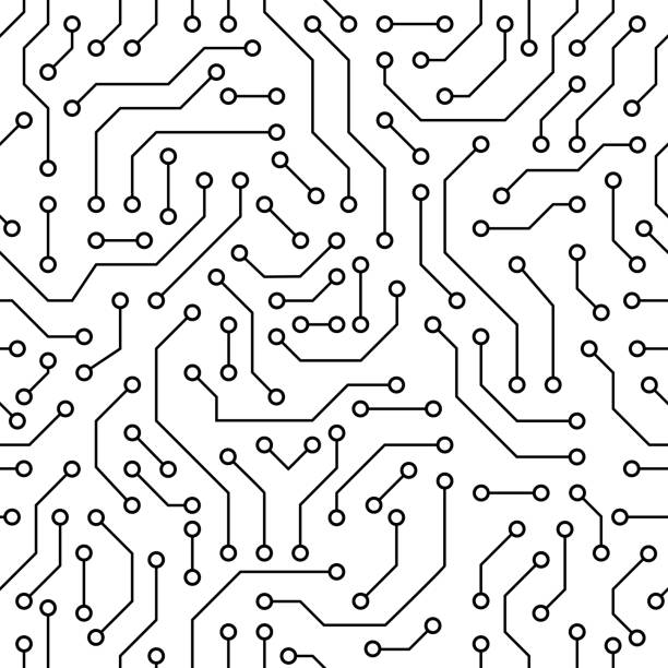 Circuit board black and white Printed circuit board black and white computer technology seamless pattern circuit board stock illustrations